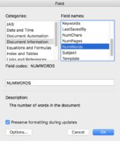 Formatting a Manuscript inserting word count